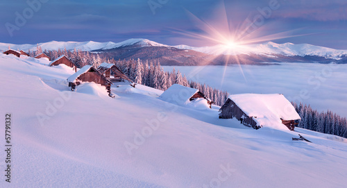 Colorful winter morning in the Carpathian mountains.