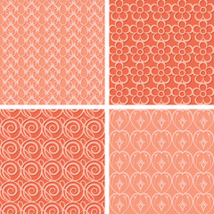 set of red seamless patterns