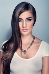 portrait beautiful girl with long hair, blue eyes