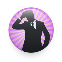 Silhouette of businessman printed on badge