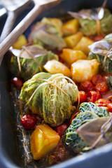Meat Dumplings Baked In Cabbage Leaves