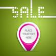 Sale, violet label on green background, vector