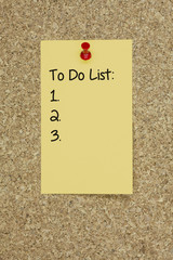 To do list. cork board
