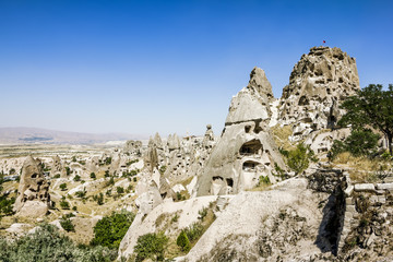 Homes in volcanic rock formations of Cappadocia, Turkey