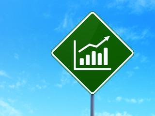 News concept: Growth Graph on road sign background
