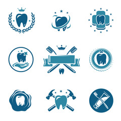 Dental labels and icons set. Vector