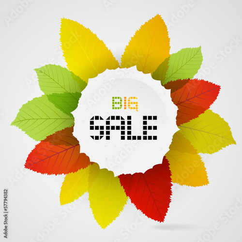 Vector Big Sale heading placed on colorful leaves