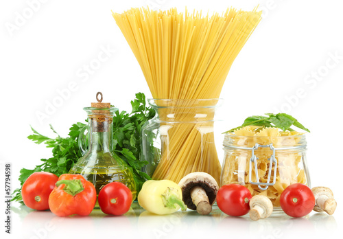 Different types pasta with vegetables isolated on white