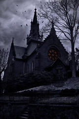 Ancient frightening church in twilight