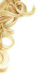 canvas print picture - Curly blond hair close-up isolated on white