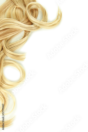 canvas print picture Curly blond hair close-up isolated on white