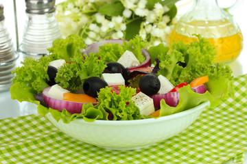 Greek salad on plate close-up