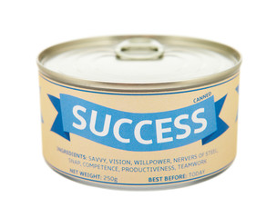 Concept of success. Tin can.