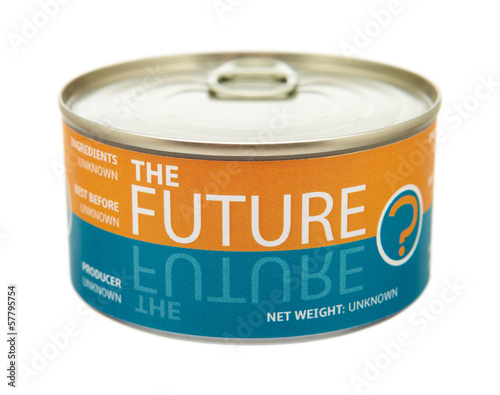 Concept of future. Tin can.