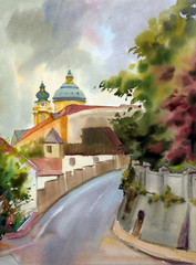 Austrian city of Melk painted by watercolor