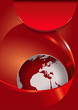 Vector red abstract brochure background with 3D globe