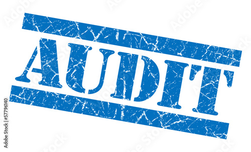 Audit grunge blue  stencil font stamp on white background