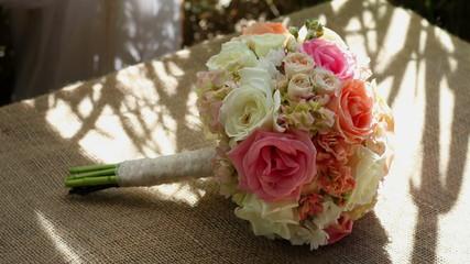 Wedding bouquet rack focus side facing