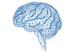 blue human brain with geometric mesh pattern, vector