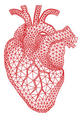 red human heart with geometric mesh pattern, vector