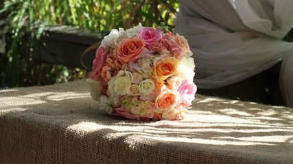 Wedding bouquet rack focus front facing