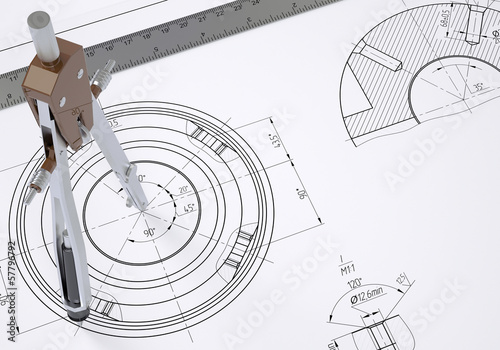 Compass and ruler on the drawing