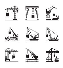 Various types of cranes - vector illustration