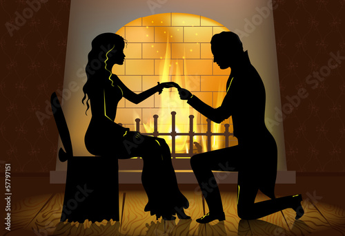 Romantic proposal near fireplace