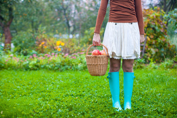Young woman in rubber boots holding the straw basket with red
