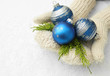 Female hands  in mittens Christmas tree balls,