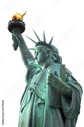 Famous NY Statue of Liberty isolated on white