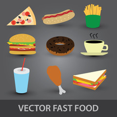 color fast food icons eps10