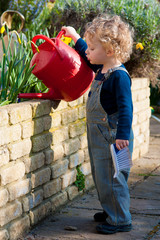 Cute mischievous little boy with blond hair waters the garden
