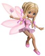 Cute Toon Ballerina Fairy in Pink - jumping