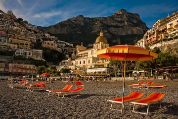 Orange umbrella on Positano beach