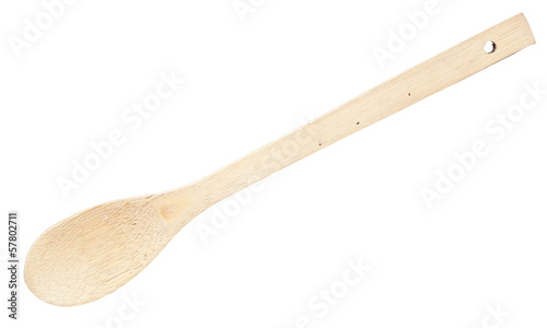 Close-up top view of wooden spoon isolated over white