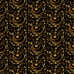 Vector gold and black seamless pattern