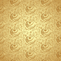 Vector golden seamless pattern