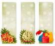 Three christmas banners with gift boxes and snowflake.