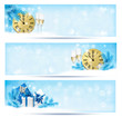 Three christmas banners with gift boxes and snowflake. Vector il