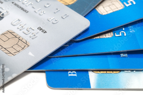 Stack of credit cards isolated on white background