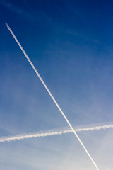 White trails in the sky
