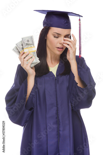 Stressed Female Graduate Holding Stacks of Hundred Dollar Bills