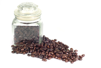 Coffee beans in a bottle on white background..