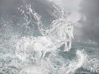 Horse from water.