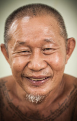 An asian old man happy face