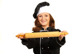 Happy chef womans howing rolling pin