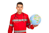 Paramedic man holding world globe