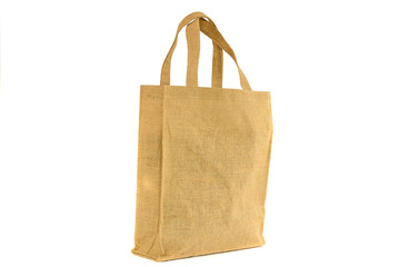 Shopping bag made out of recycled  sack with isolated white back