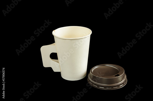 Paper coffee cup with isolated black background